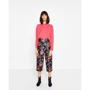 NWT Zara Size S Floral Jacquard Satiny Pants